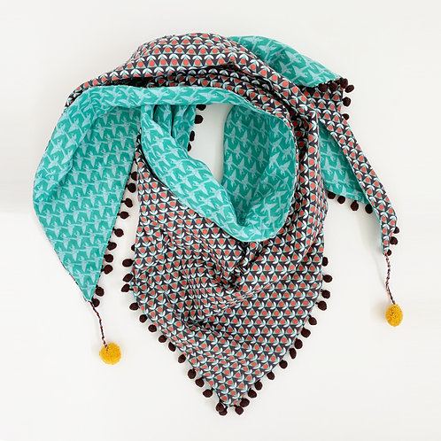 Posies and Cranes Triangle Scarf