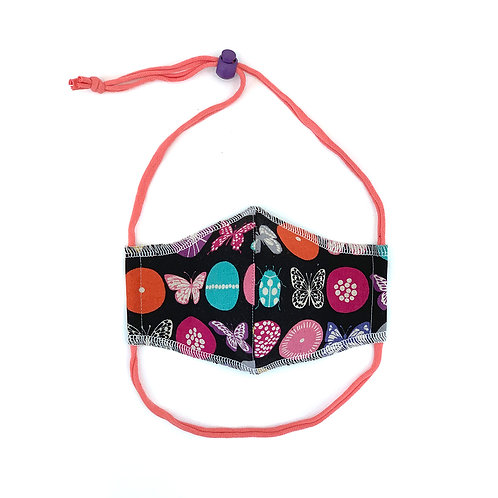 Kids Butterfly Buttons Fitted Face Mask