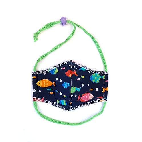 Kids School of Fish Fitted Face Mask