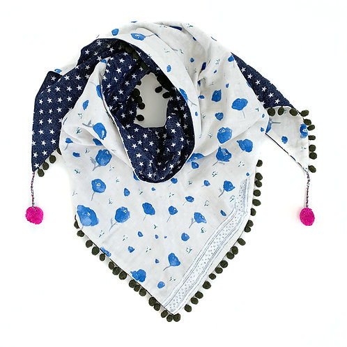 Blue Poppies Triangle Scarf