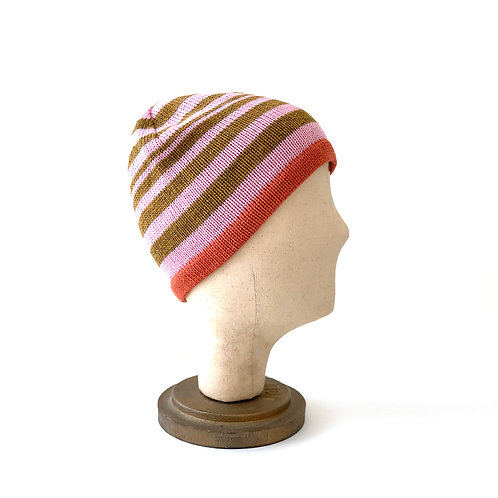 Pinky Orange Striped Hat