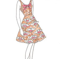 Concept Illustration for ommissioned Sock Monkey Dress, 2008