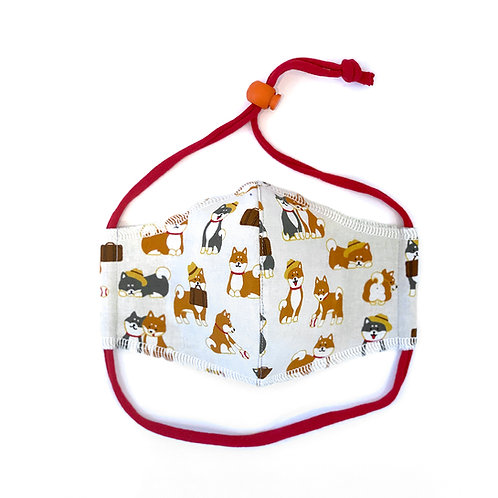 Kids Shiba Puppies Fitted Face Mask