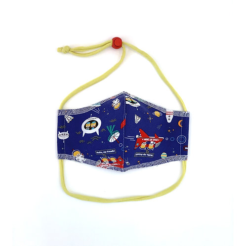 Kids Friends in Space Fitted Face Mask
