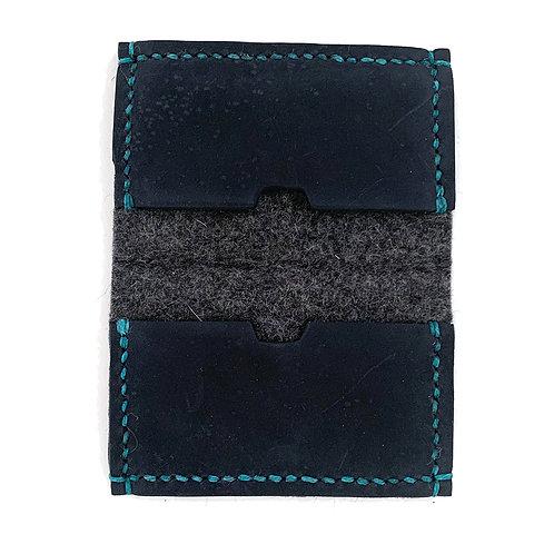 Slim Hand Stitched Graphite Wool Wallet
