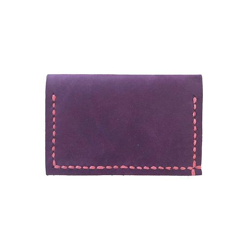 Slim Hand Stitched Plum Wallet