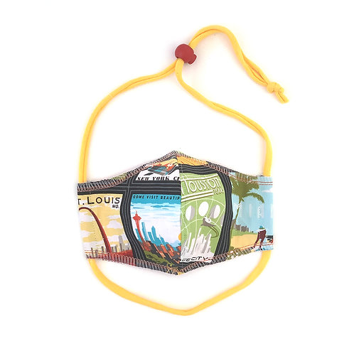Kids Big Cities Fitted Face Mask
