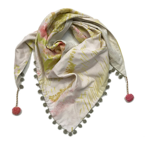 Painterly Meadow Triangle Scarf