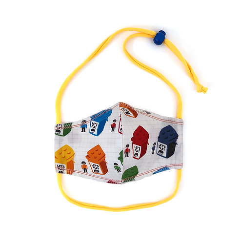 Kids Bricks & Blocks Fitted Face Mask