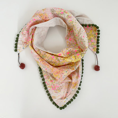 Paper Whites & Neon Pinks Triangle Scarf