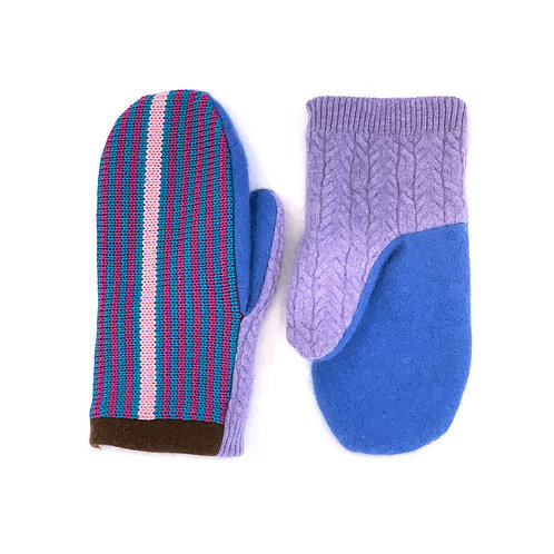Lavendula Super Blue Striped Mittens