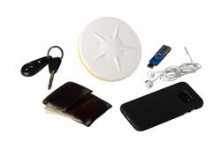Trimble Catalyst DA1 Antenna_studio_with wallet_keys_USB_phone_headphones_71937