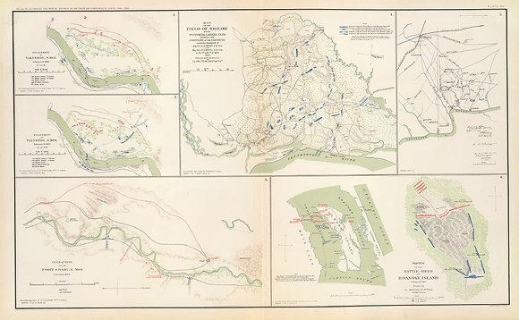 Field of Shiloh. Battle Field of Roanoke Island.