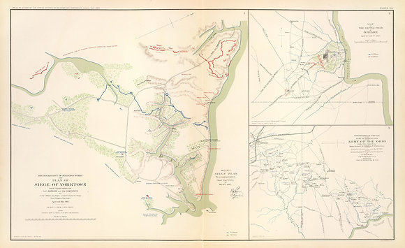 Plan of Siege of Yorktown. Battlefield of Shiloh.