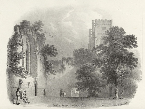 Plate 16: In the Refectory, Fountains Abbey
