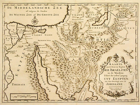 Dutch Map of Trip and Expedition of the Israelites