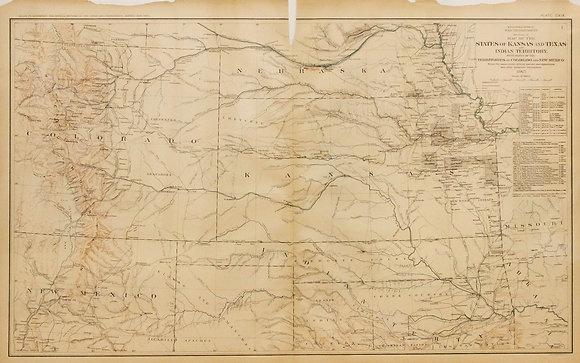 Civil War Map of Kansas, Texas and Surrounding