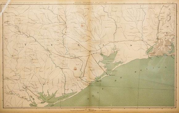 Civil War Map of the Eastern Gulf Coast of Texas
