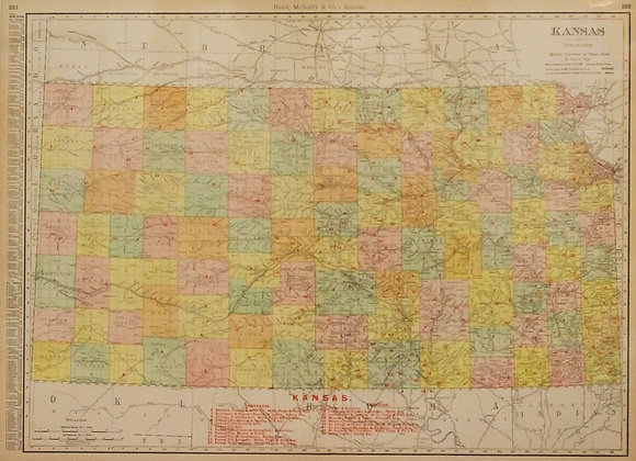 Rand, McNally's Kansas (with Railroads, 1908)