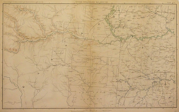 Civil War Map of Kansas and Missouri