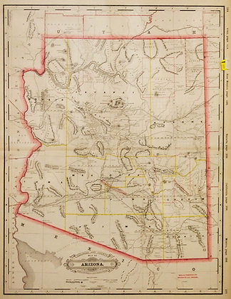 Railroad and County Map of Arizona