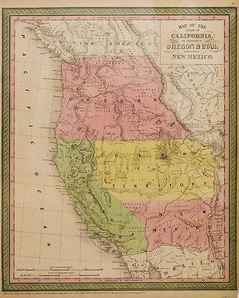 Map of California, Oregon, Utah and New Mexico