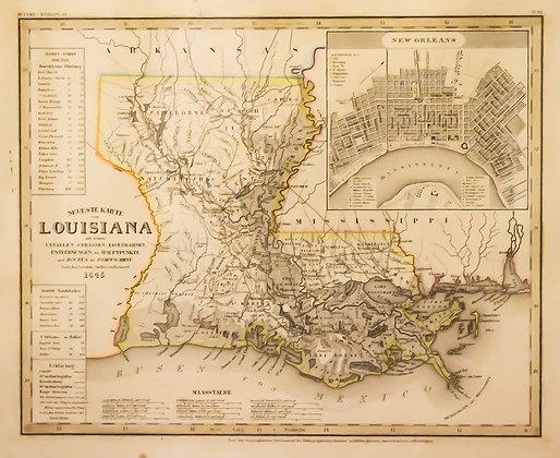 Neueste Karte von Louisiana