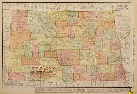 Rand McNally's North Dakota (with Railroads)