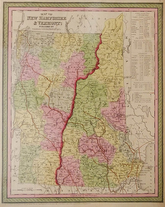 Map of New Hampshire & Vermont