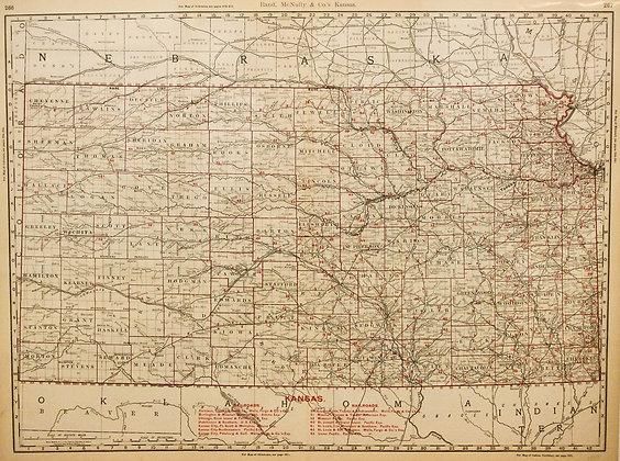 Rand, McNally's Kansas (with Railroads, 1888)