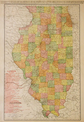 Rand McNally's Illinois (with Railroads)