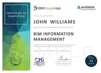 BIM Information Management CPD certifica