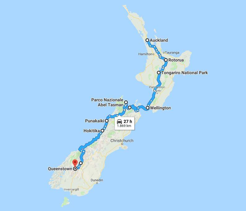 Itinerario Nuova Zelanda