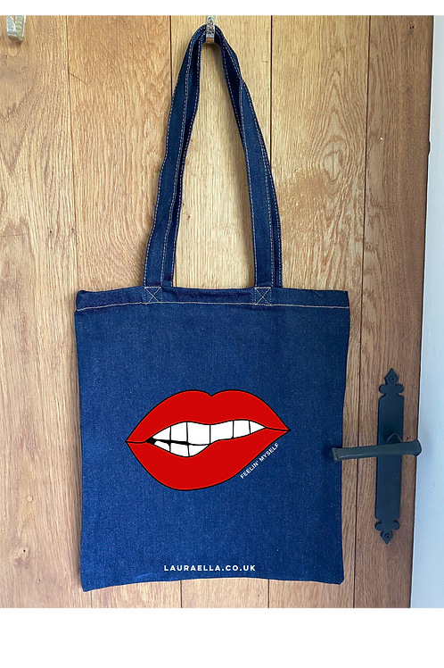 Feelin' Myself Tote Bag in Blue Denim