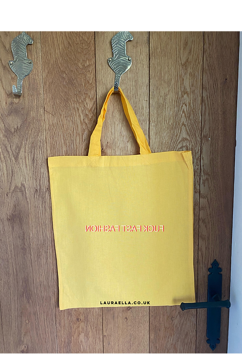 Fuck Fast Fashion Tote Bag in Mustard