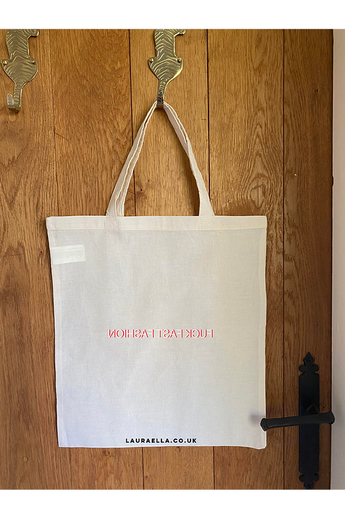 Fuck Fast Fashion Tote Bag in Natural
