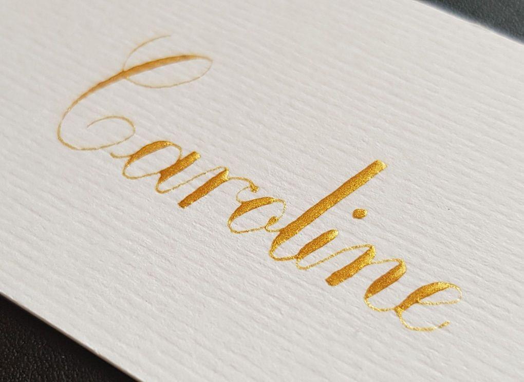 naamkaartjes in goud