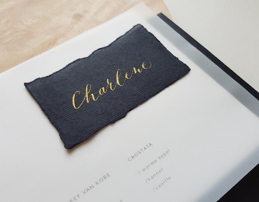 naamkaartje op handgeschept papier