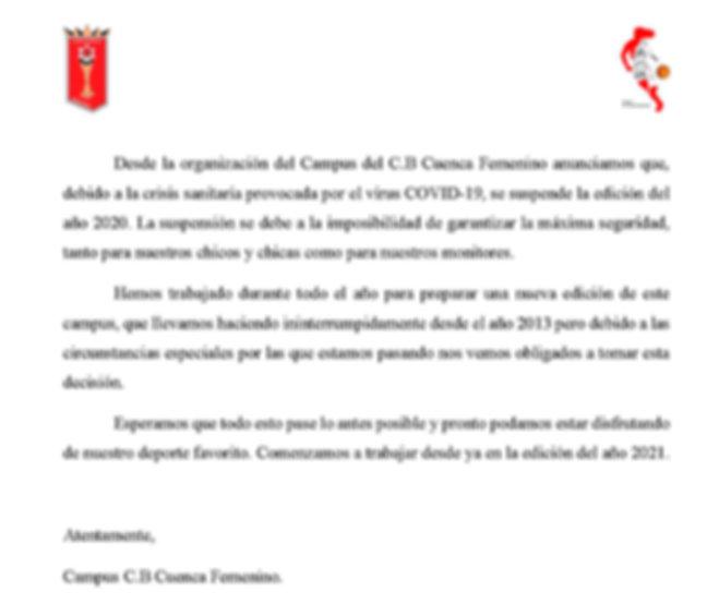 COMUNICADO OFICIAL CAMPUS CB CUENCA FEME