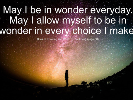 May I allow myself to be in wonder....