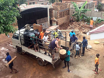 Moving truck and children.