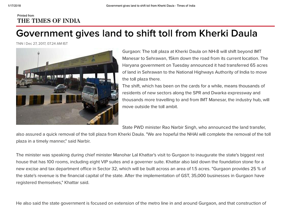 Governments gives land to shift toll from kherki Daula