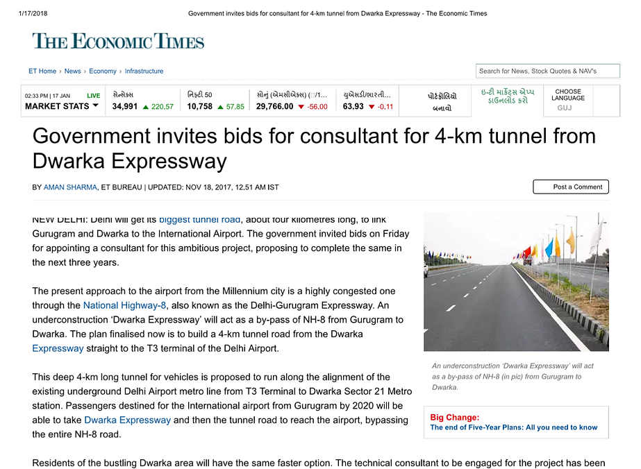 Goverbment invites bids for consultant for 4-km tunnel from Dwarka Expressway