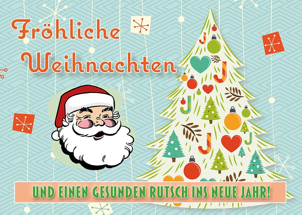 Weihnachtsmann, oldschool, Tannenbaum