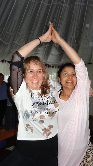Partner yoga on retreat