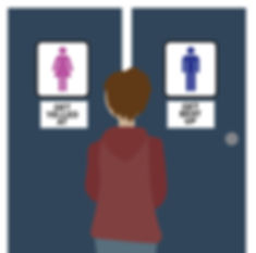 "An androgynous person faces two restroom doors. One door has a sign with pink ""female"" stick figure with the text ""get yelled at."" The other door has a blue ""male"" stick figure with the text ""get beat up."""