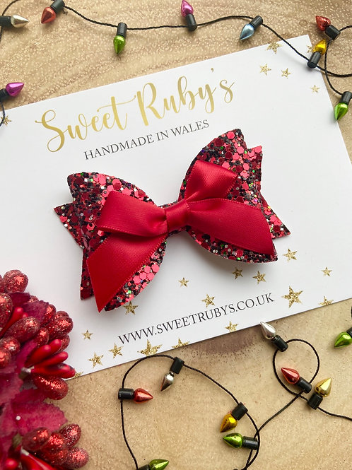 Ribbon and glitter red bow