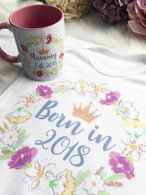 Blossom Wreath Mug & Babygrow Set
