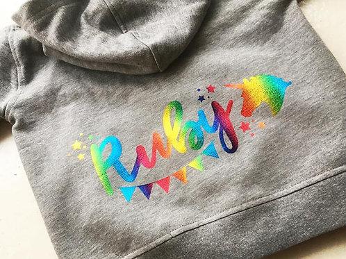 Rainbow Unicorn Zip Through Hoody