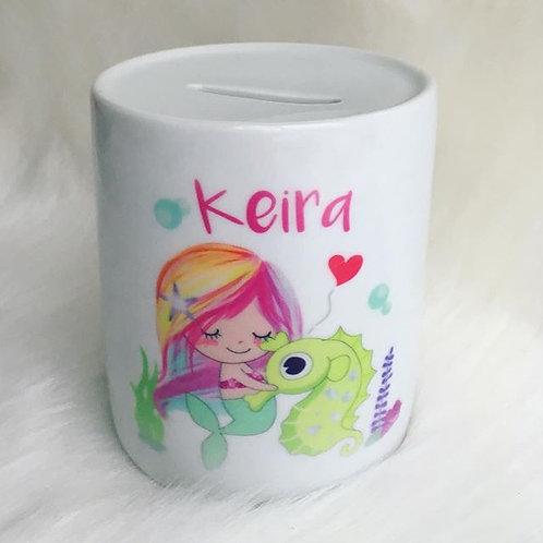 Mermaid personalised money box